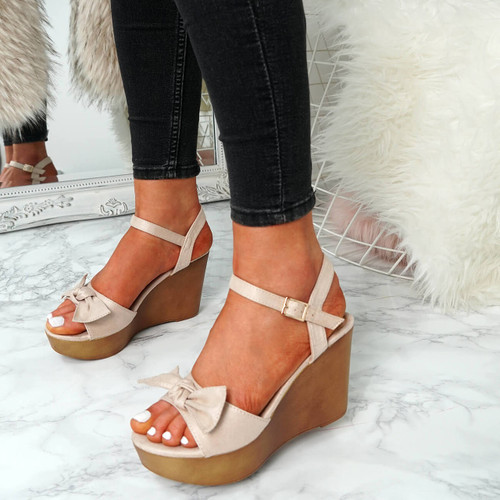 Sita Nude Wedge Bow Sandals