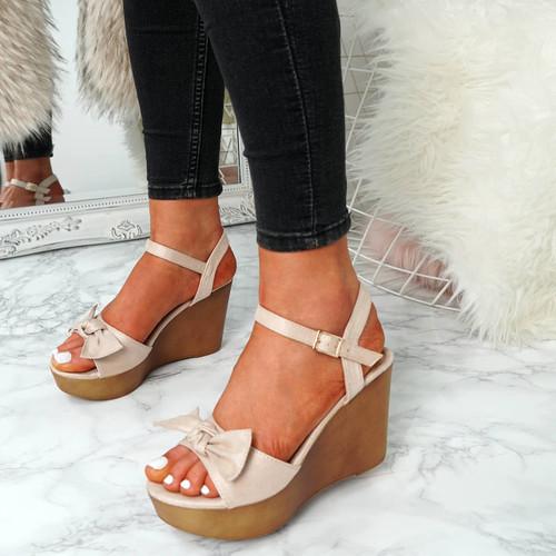 Sita Nude Wedge Bow Sandals