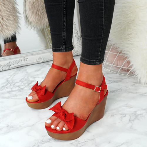 5272e03dd34 Womens Ladies Ankle Strap Bow Wedge Platforms Sandals High Heels ...