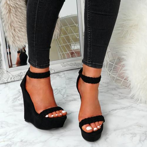 Klana Black Braids Sandals
