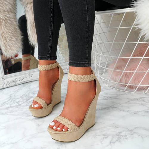 Klana Nude Braids Sandals