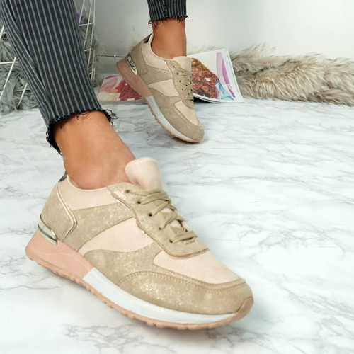 Bigma Beige Lace Up Trainers