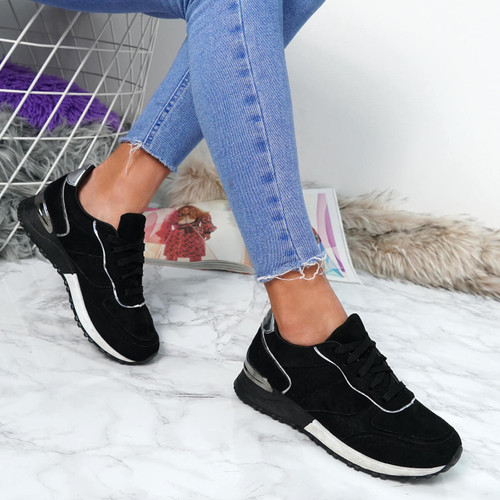 Bigma Black Lace Up Trainers