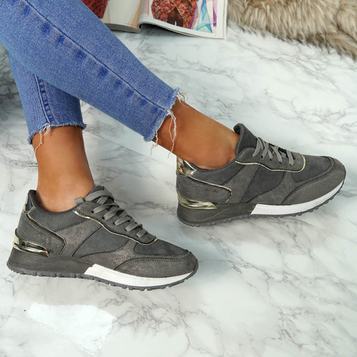 Bigma Grey Lace Up Trainers
