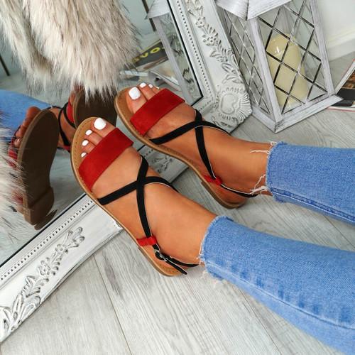 Nura Red Flat Sandals