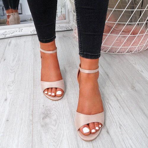 Opia Beige Ankle Strap Sandals