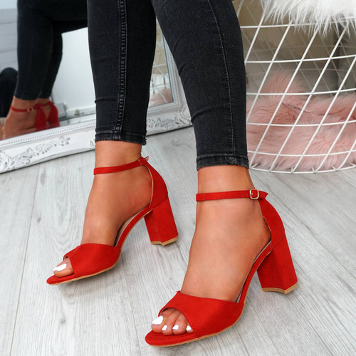 Opia Red Ankle Strap Sandals