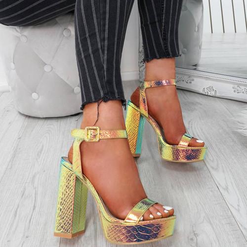 Kima Gold Platform Sandals