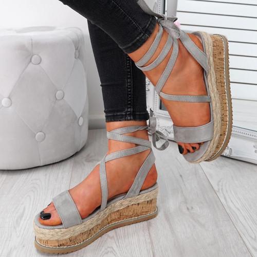 Wiza Grey Flatform Sandals