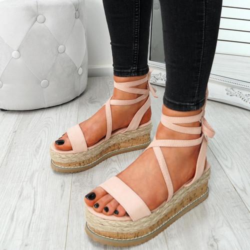 Wiza Pink Flatform Sandals