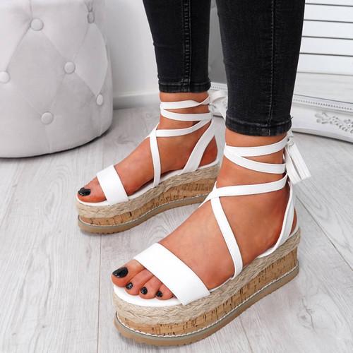 Wiza White Flatform Sandals