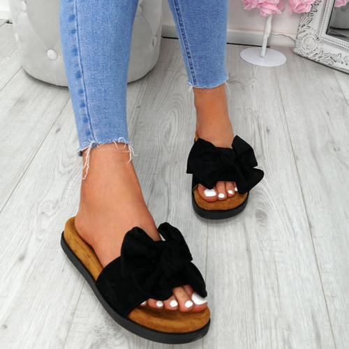 Byna Black Bow Flat Sandals