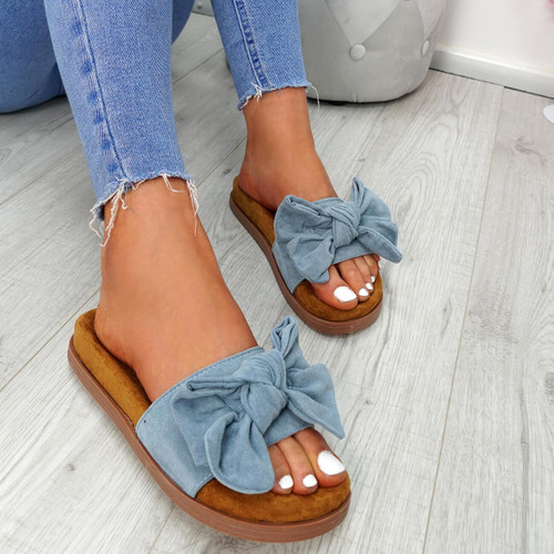 Byna Blue Bow Flat Sandals