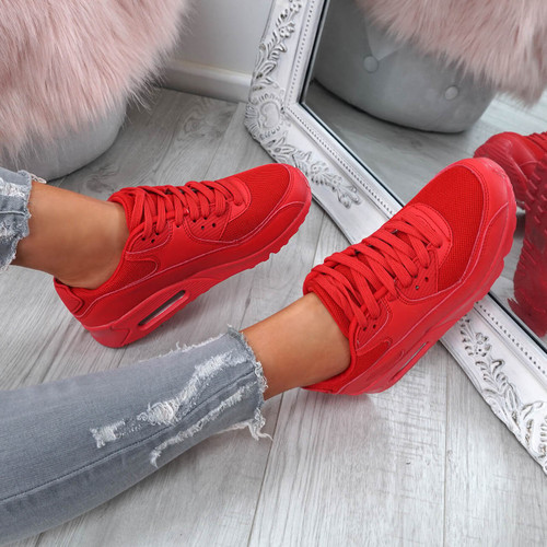 Kimsa Red Lace Up Trainers