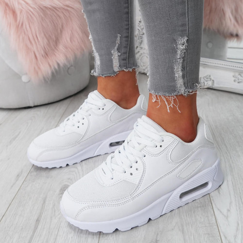 Kimsa White Lace Up Trainers