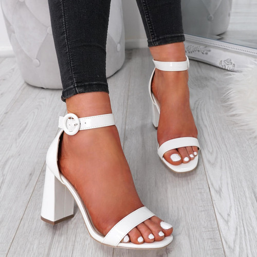 Yelum White Ankle Strap Sandals
