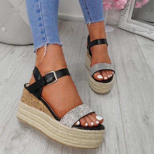 Malka Black Wedge Sandals