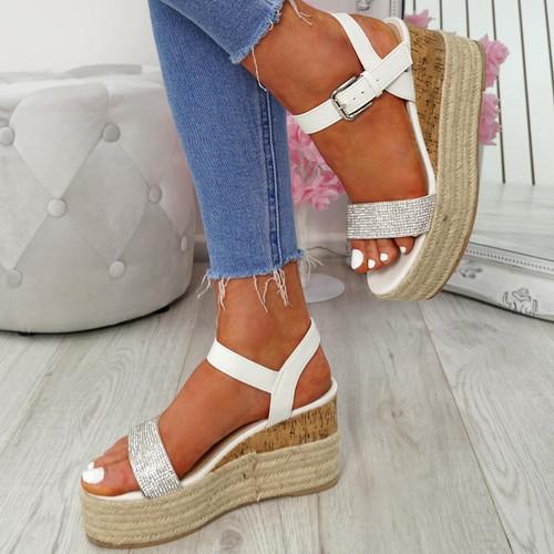 Malka White Wedge Sandals
