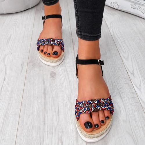 Mysta Black Flat Sandals