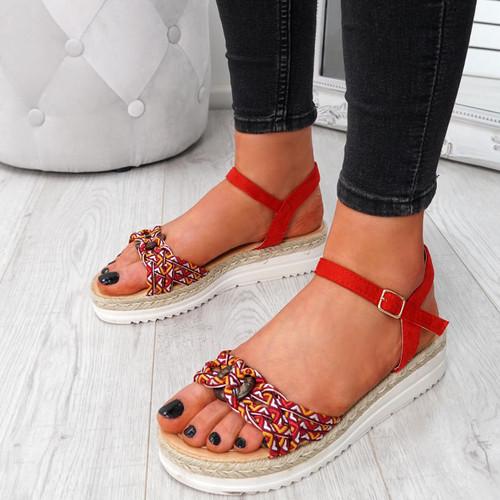 Mysta Red Flat Sandals