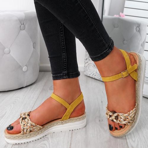 Mysta Yellow Flat Sandals