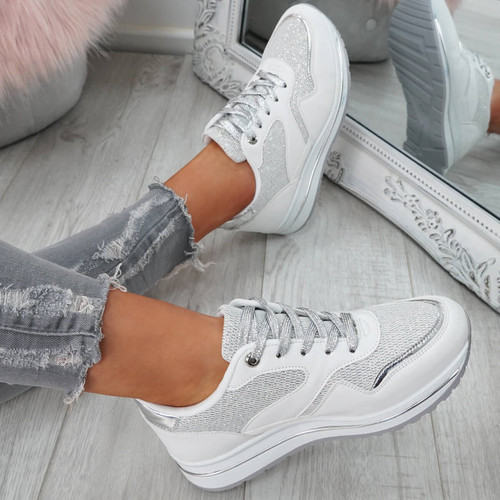Silyn White Glitter Trainers