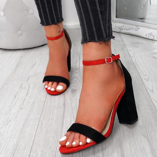 Kimaty Black Block Heel Sandals