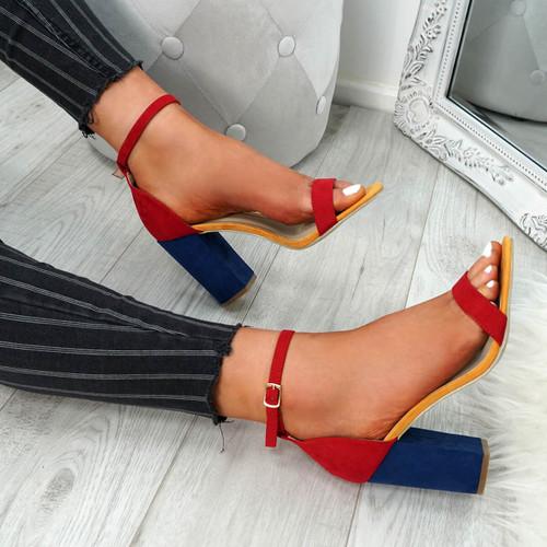 Kimaty Red Block Heel Sandals