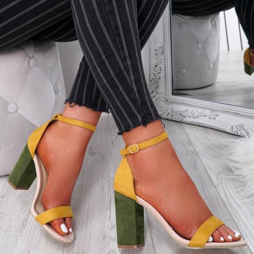 Kimaty Yellow Block Heel Sandals