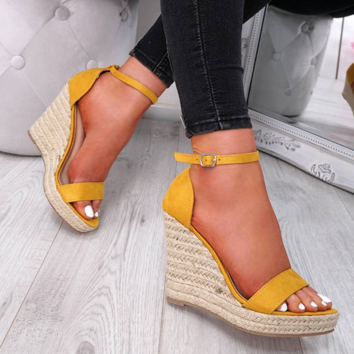 Fijy Yellow Espadrille Wedge Platforms