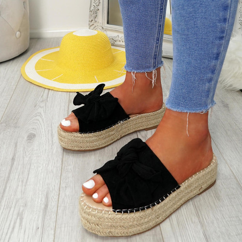 Clomy Black Bow Espadrille Flatforms