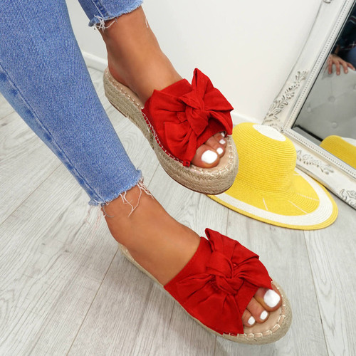 Clomy Red Bow Espadrille Flatforms