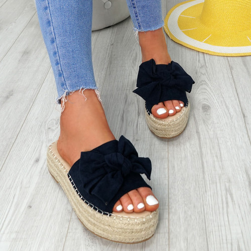 Clomy Blue Bow Espadrille Flatforms
