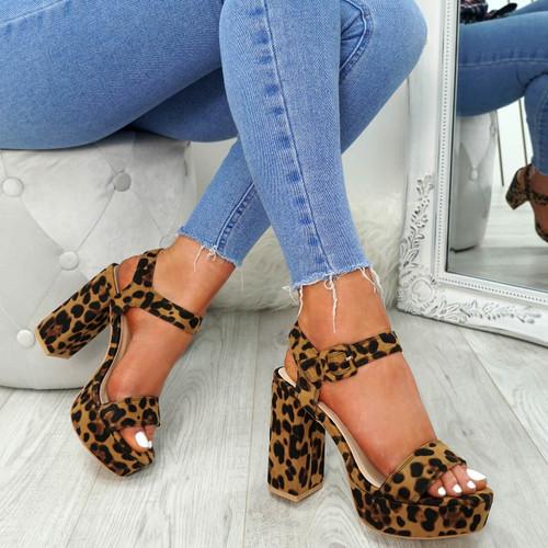 Gilla Leopard Block Heel Sandals