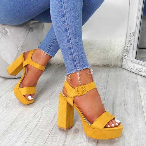 Gilla Yellow Block Heel Sandals