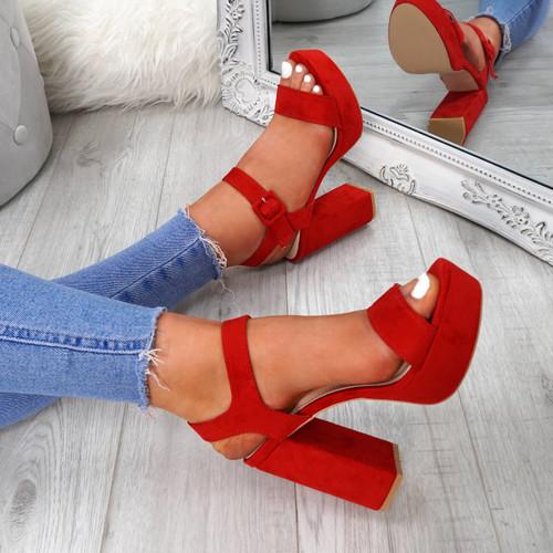 Gilla Red Block Heel Sandals