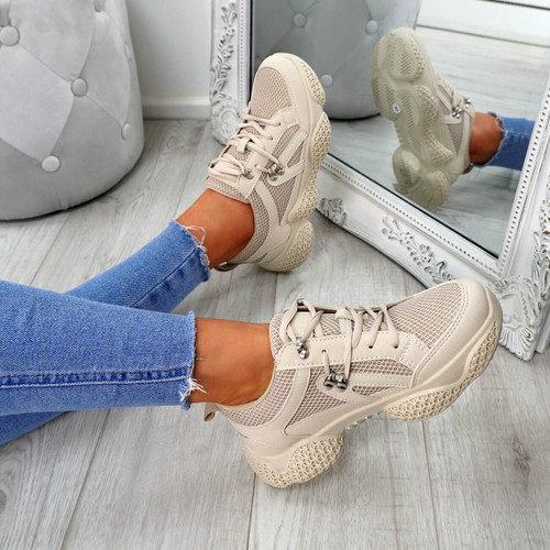 Litto Beige Lace Up Sneakers