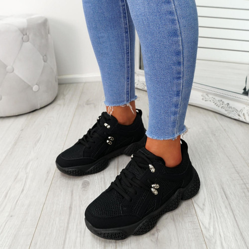 Litto Black Lace Up Sneakers
