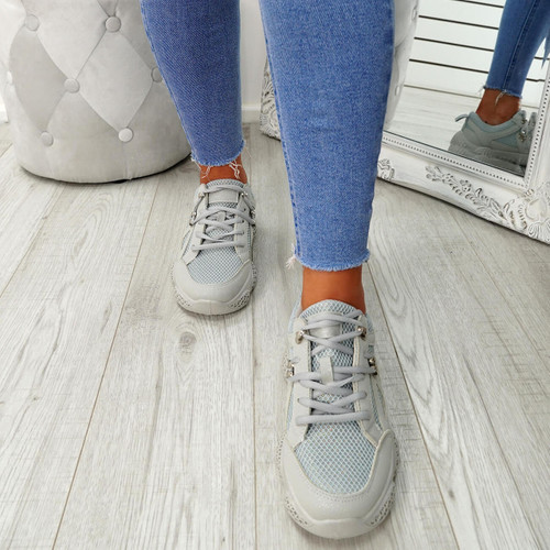 Litto Grey Lace Up Sneakers