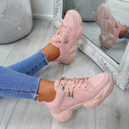 Litto Pink Lace Up Sneakers