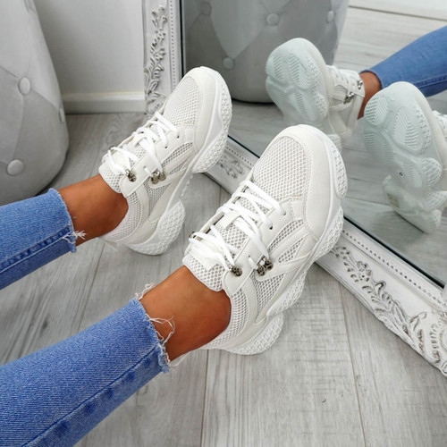 Litto White Lace Up Sneakers