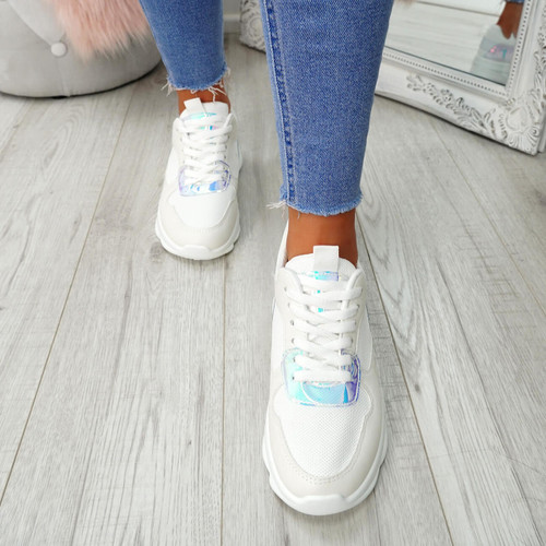 Ziffy White Lace Up Trainers