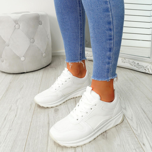Bixey White Lace Up Trainers
