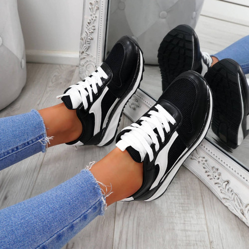 Bixey Black Lace Up Trainers