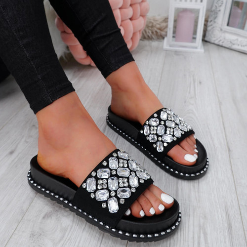 Terya Black Diamante Flat Sandals