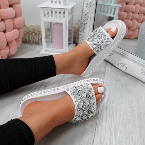 Terya White Diamante Flat Sandals
