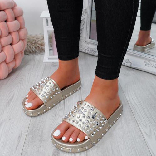 Okna Gold Rock Stud Flat Sandals