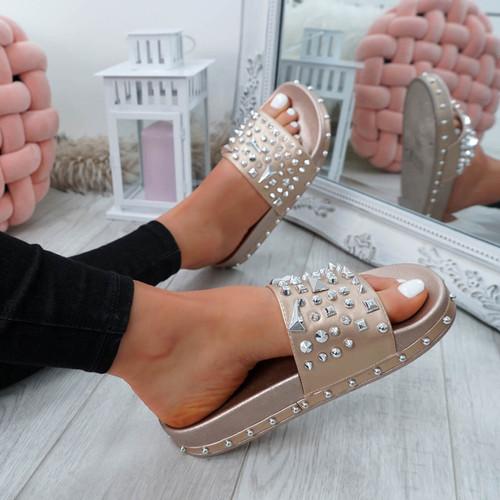 Okna Rose Gold Rock Stud Flat Sandals