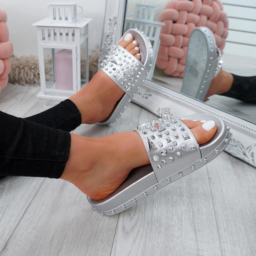 Okna Silver Rock Stud Flat Sandals