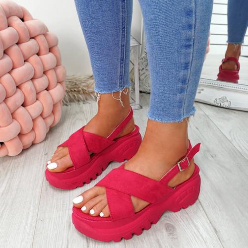 Yatta Fuchsia Peep Toe Heel Sandals
